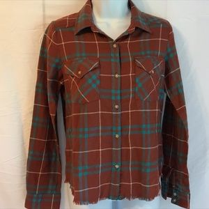 RVCA Tilly's plaid flannel soft top with raw hem